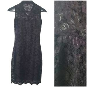 Boohoo women's black lace bodycon dress LBD